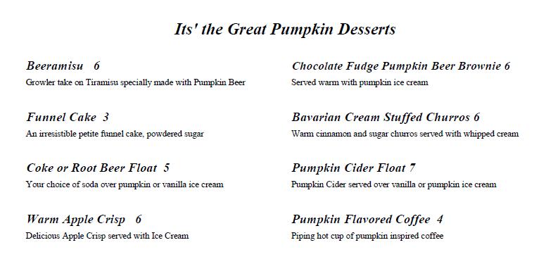 Pumpkin Dessert Menu